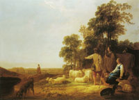 Aelbert Cuyp Landscape with shepherds and shepherdesses
