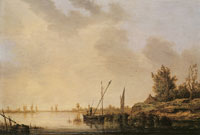 Aelbert Cuyp River scene with distant windmills