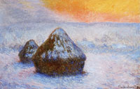 Claude Monet Wheatstacks (Sunset, snoew effects)