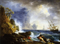 Claude-Joseph Vernet An Italian harbour in stormy weather
