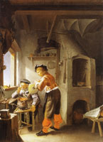 Frans van Mieris the Elder An alchemist and his assistant in a workshop