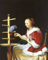 Frans van Mieris the Elder A woman feeding a parrot