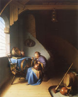 Gerard Dou An Interior, with a Woman eating Porridge