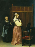Gerard ter Borch A young woman at her toilet with a maid