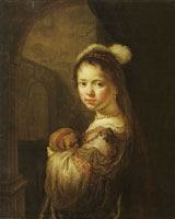 Govert Flinck Young Girl in Phantasy Costume with a Dog