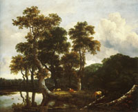 Jacob van Ruisdael Grove of Large Oak Trees at the Edge of a Pond