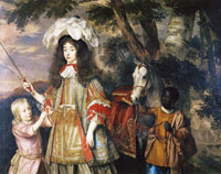 Jan Mijtens Portrait of Maria, Princess of Orange, with Hendrik van Zuijlestein and a servant