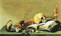 Pieter Claesz. Open book, Skull, Violin, and Oil Lamp