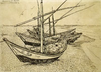 Vincent van Gogh Fishing Boats ont he Beach