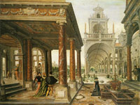 Hans and Paul Vredeman de Vries - Palatial architecture with figures