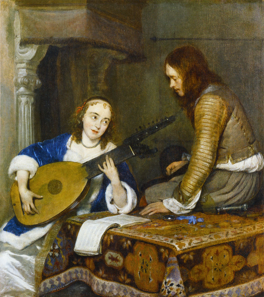 Gerard ter Borch - An Officer with a Woman Playing Lute