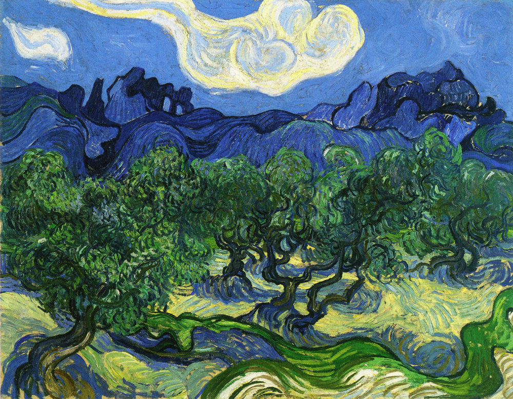 Vincent van Gogh - Olive Trees in a Mountain Landscape