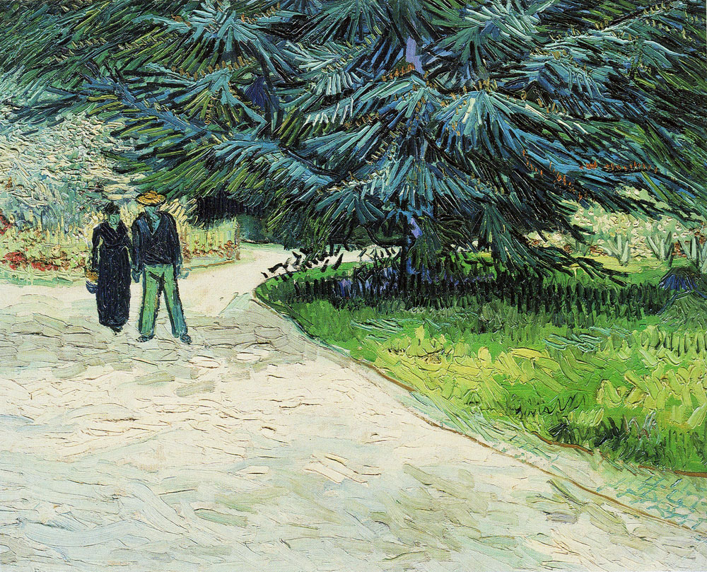 Vincent van Gogh - Public Garden with a Couple and a Blue Fir Tree