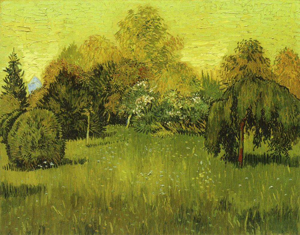 Vincent van Gogh - Public Garden with Round Clipped Shrub and Weeping Tree