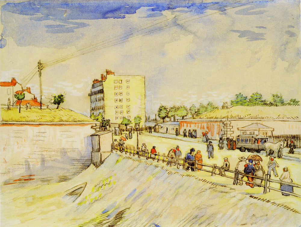 Vincent van Gogh - Street with People Walking and a Horsecar near the Ramparts of Paris