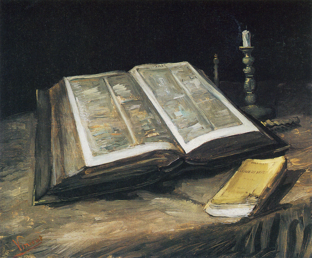 Vincent van Gogh - Still Life with Open Bible, Candlestick, and Novel