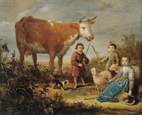 Attributed to Aelbert Cuyp Children and a Cow