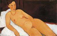 Amedeo Modigliani Nude with Coral Necklace
