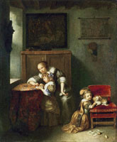 Caspar Netscher A Mother Teaching a Child