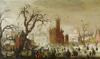 Christoffel van den Berghe A Winter Landscape with Ice Skaters and an Imaginary Castle