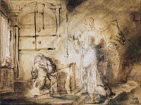 Constantijn van Renesse with corrections by Rembrandt The Annunciation