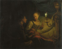 Godfried Schalcken Man Offering Gold and Coins to a Girl