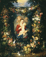 Jan Brueghel the Elder and Peter Paul Rubens Madonna and Child in a Garland of Fruit and Flowers
