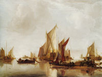 Jan van de Capelle A State Yacht and Other Craft in Calm Water