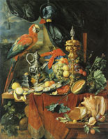 Jan Davidsz. de Heem - A Richly Laid Table with Parrots