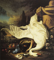 Jan Weenix - A Dead Swan in a Park