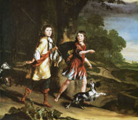 Nicolaes Maes - Two Young Brothers as Hunters
