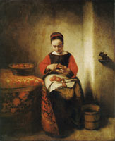 Nicolaes Maes Young Woman Peeling Apples