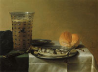 Pieter Claesz. Herring with a Glass of Beer and a Roll