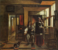 Pieter de Hooch Interior with a Young Couple