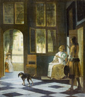 Pieter de Hooch - Interior with a Young Woman and a Man with a Letter