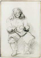 Rembrandt Seated Man with Long Hair, Hands Folded