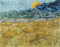 Vincent van Gogh Enclosed Field with Sheaves and Rising Moon