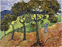 Vincent van Gogh Woman Walking under the Trees