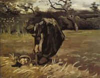Vincent van Gogh Peasant Woman, Digging Up Potatoes