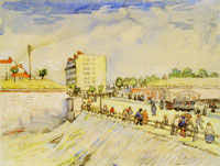 Vincent van Gogh Street with People Walking and a Horsecar near the Ramparts of Paris