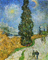 Vincent van Gogh Road with Men Walking, Carriage, Cypress, Star, and Crescent Moon