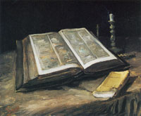 Vincent van Gogh Still Life with Open Bible, Candlestick, and Novel