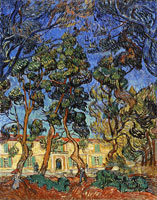Vincent van Gogh Trees in Front of the Entrance to the Asylum