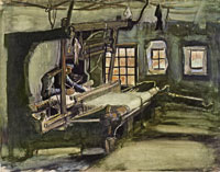 Vincent van Gogh Weaver, Interior with Three Small Windows