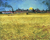 Vincent van Gogh Wheat Field with Setting Sun