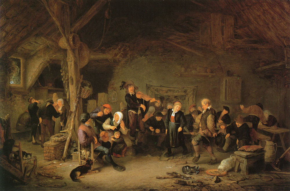 Adriaen van Ostade - Dancing Farmers in an Inn