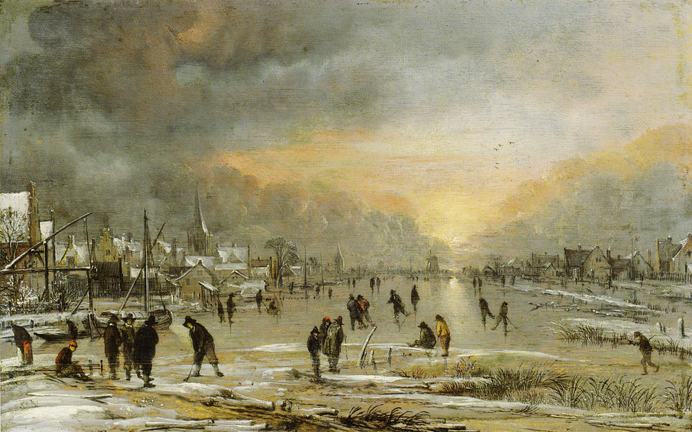 Aert van der Neer - Sports on a Frozen River