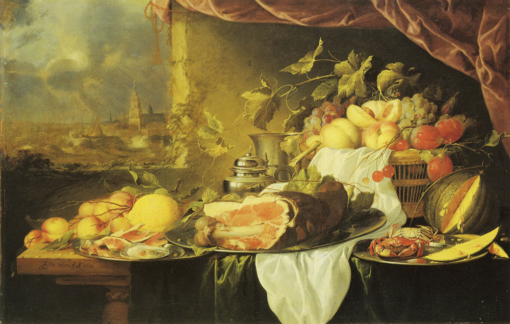 Jan Davidsz. de Heem - Fruit and Ham on a Table with a View of a City