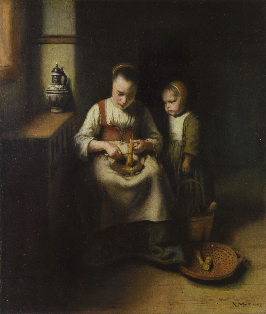 Nicolaes Maes - Woman Scraping Parsnips with a Child