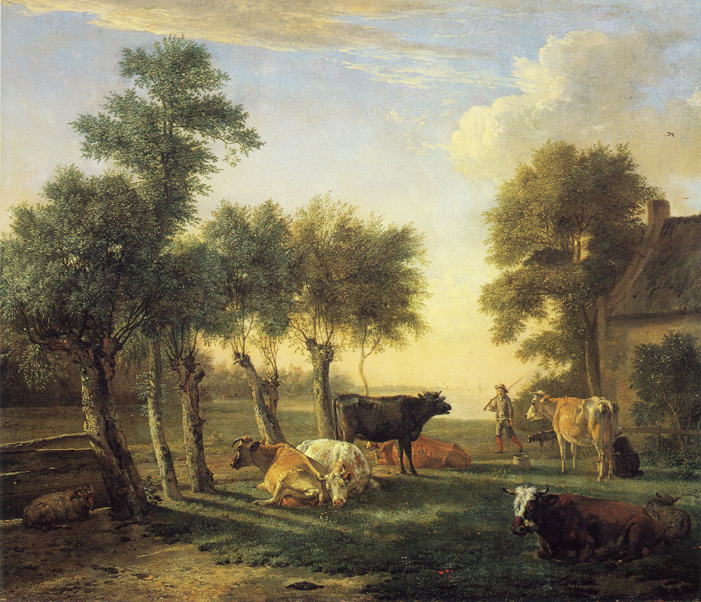 Paulus Potter - Cows in a Meadow near a Farm